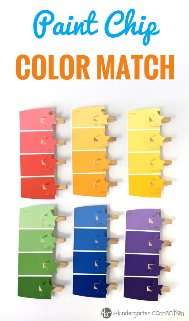 Use supplies you already have on hand or can buy super cheap at the dollar store for this Fine Motor Pain Chip Color Matching Activity! Perfect for preschool through kindergarten!