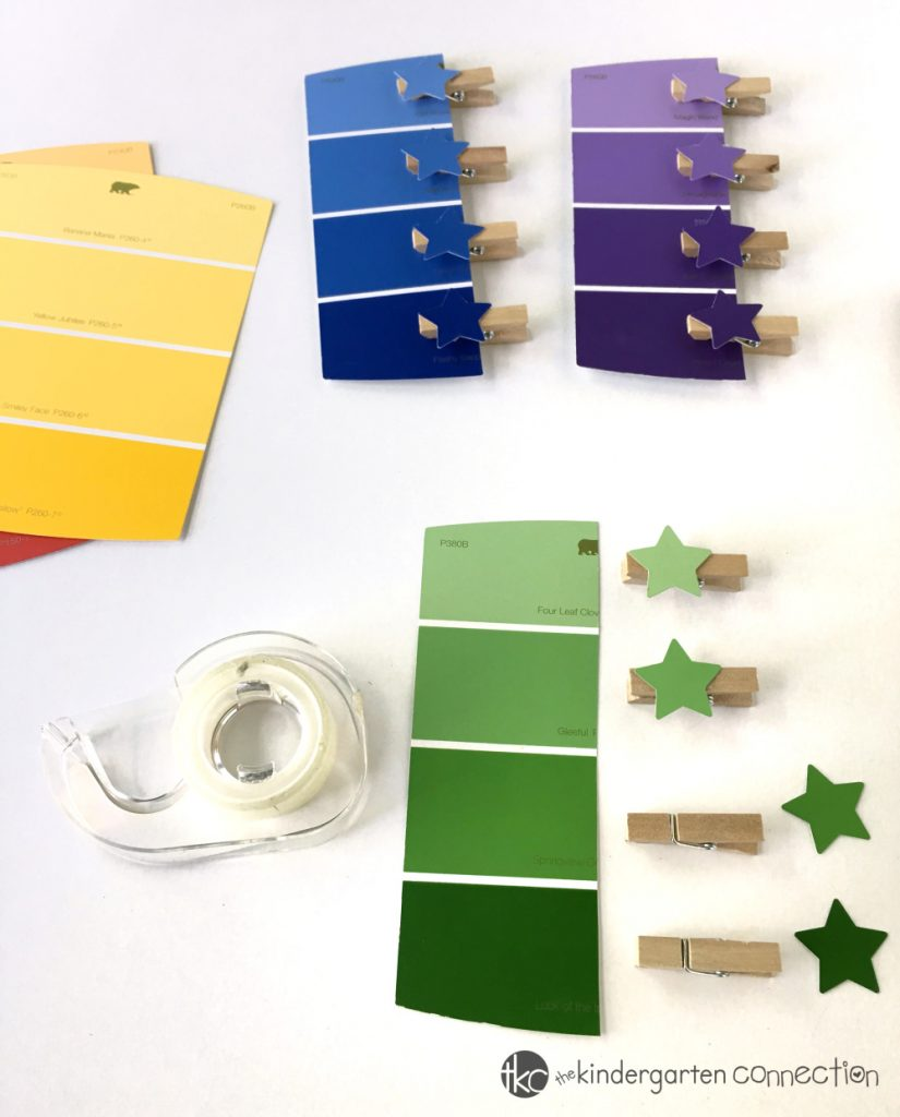 Use supplies you already have on hand or can buy super cheap at the dollar store for this Fine Motor Paint Chip Color Matching Activity! Perfect for preschool through kindergarten!