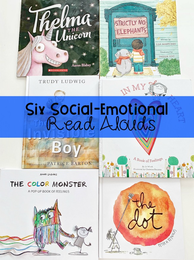 These Six Social-Emotional Read Alouds touch on managing emotions, inclusion, and self-awareness. Suitable for preschool through 1st grade!