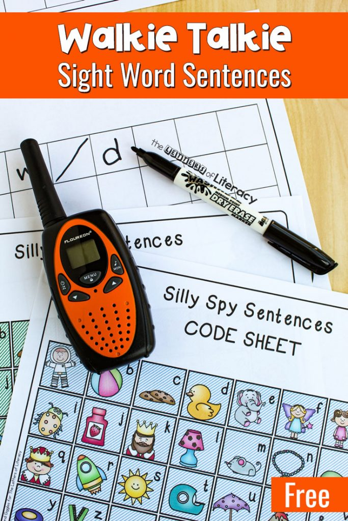 Get our FREE Printable Walkie Talkie Sight Word Activity for your kindergarten students! Get rid of the flashcards and use this interactive sight word spy game activity!