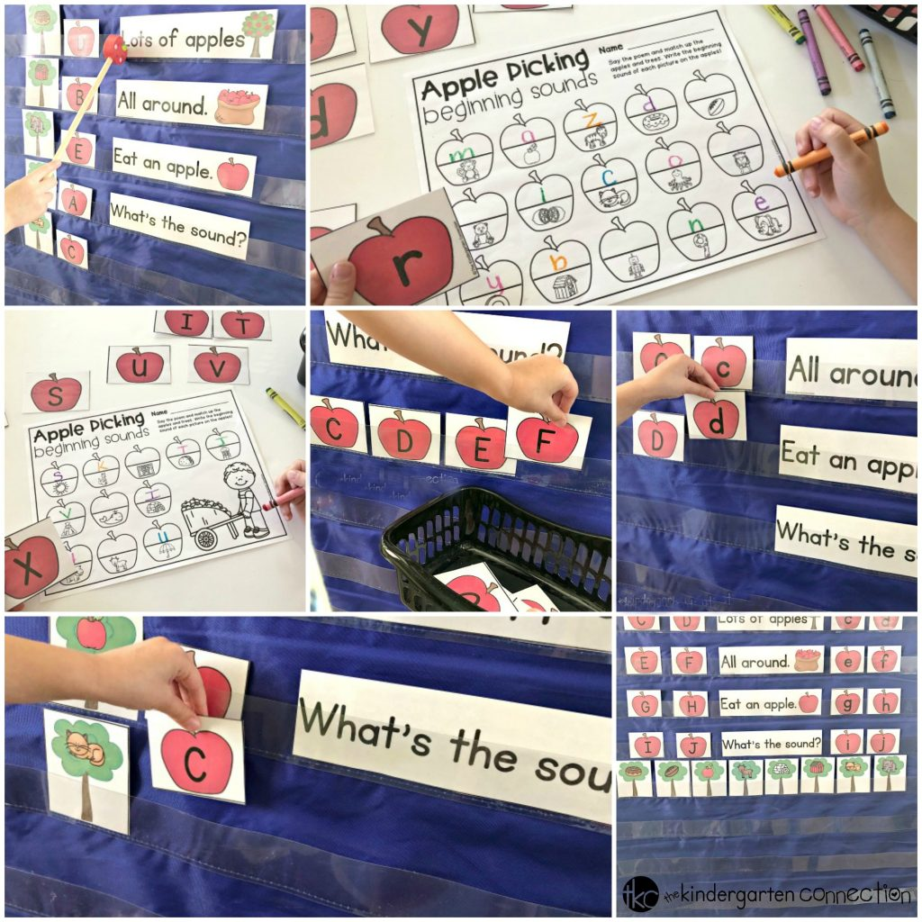 Apple Picking Beginning Sound Pocket Chart Chant. This center activity is perfect for pre-k and kindergarten children to use in small groups, morning meeting or center time!