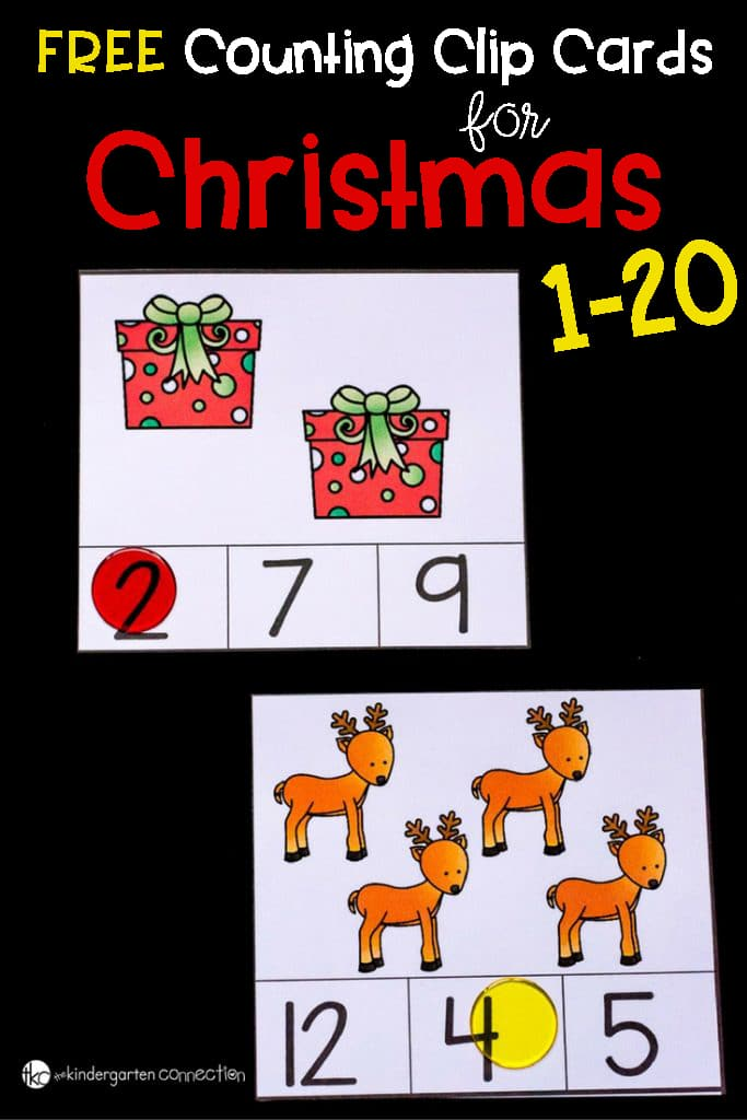 Free Counting Cards For Christmas. These include numbers 1-20 and are perfect for your Christmas math centers.
