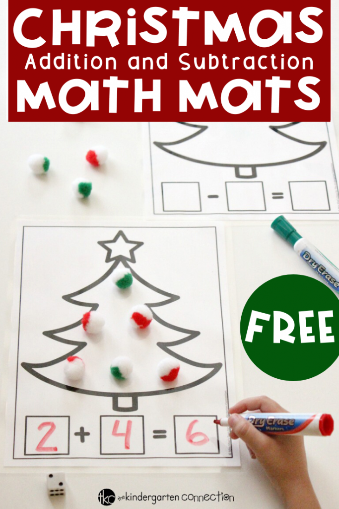 Your students will enjoy solving equations by decorating these addition and subtraction math mats with red and green math manipulatives. This is a fun Christmas activity that will be a perfect addition to your math centers! #mathcenters #kindergarten #christmasactivities #kindergartenteacher