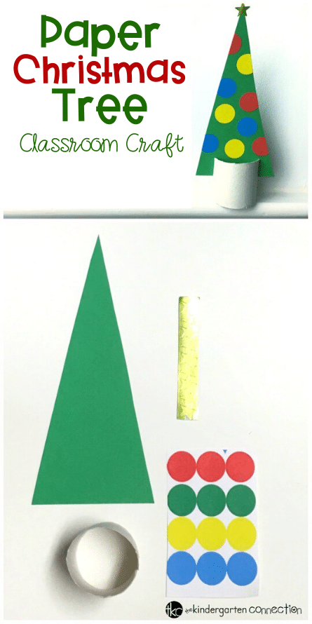 Paper Christmas Tree craft for kids. A fun activity to help strengthen fine motor skills and more. #finemotor #wintercrafts #craftsforkids #papercrafts
