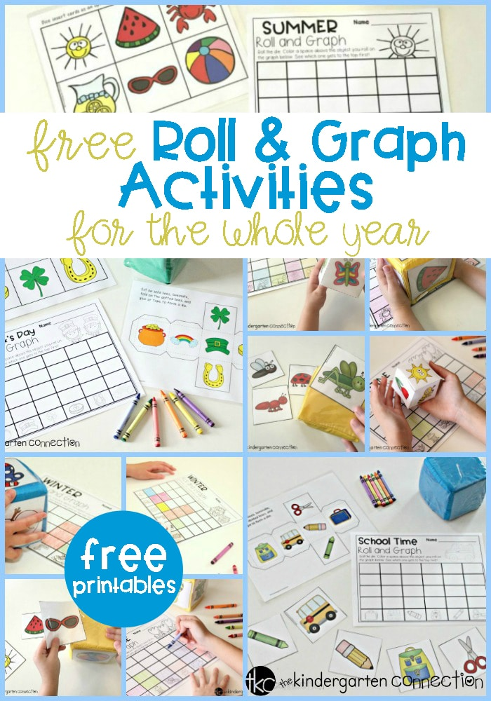 Roll and Graph printables for kindergarten and first graders. These activities are a fun way to help strengthen math skills while having fun. #graphing #elementarymath #freeprintables #elementaryteacher