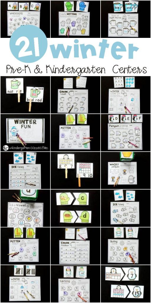 These winter centers for Pre-K and Kindergarten are great to work on letters, sounds, sight words, numbers, addition, subtraction, shapes, and so much more! #wintercenters #kindergartencenters #prekcenters #freeprintables