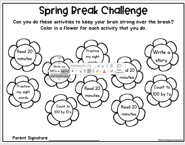 Grab this FREE Editable Spring Break Challenge for your students to work on over break. It's a great opportunity for students to practice skills in a fun way while on spring break!