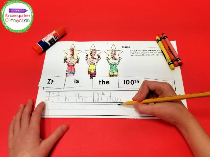 After kids cut and unscramble the sentence, it's time to glue it down, and then write it in their best handwriting.