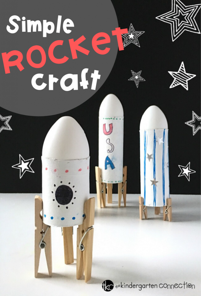 Your children are going to have a blast making this Simple Rocket Space Craft for Kids! Use supplies you already have on-hand! #spacecraft #kindergartenactivity #kidscrafts #spaceweek