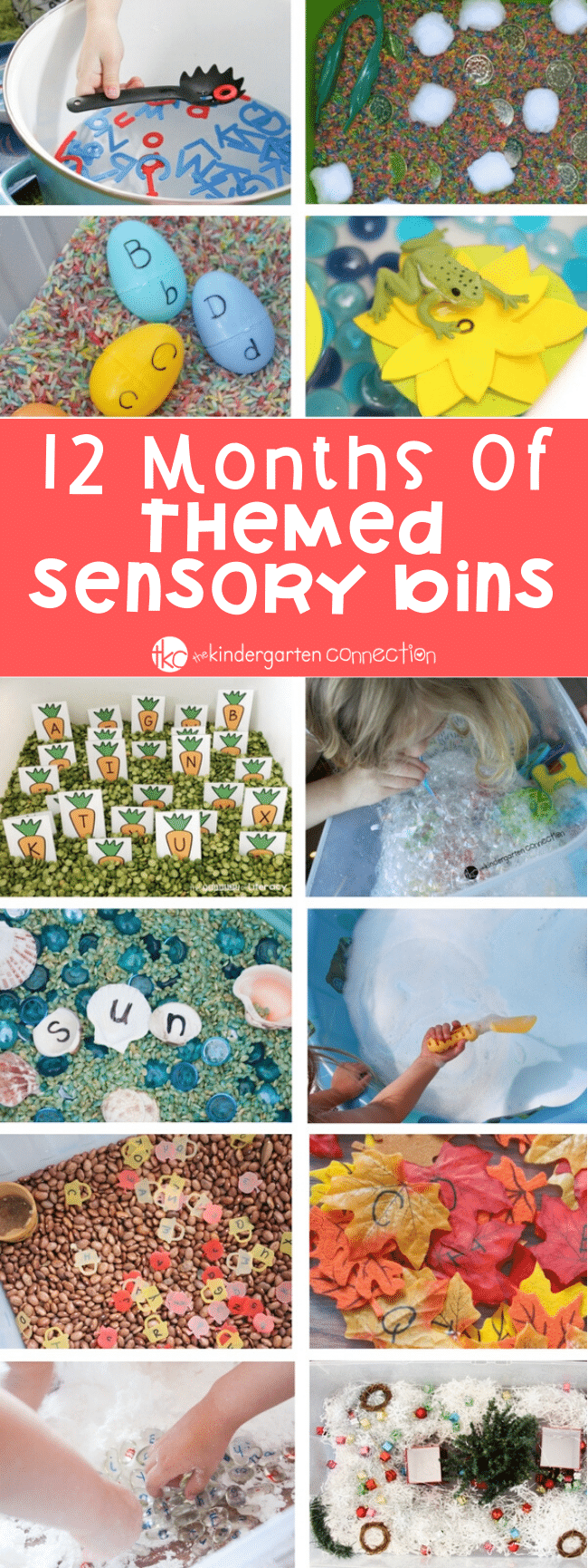 12 Months Of Sensory Bins. Ideas for all 12 months, to have themed sensory bins in your classroom, homeschool or simple activities for kids at home. #sensorybin #holidaythemeactivities #preschoolclassroom #homeschool