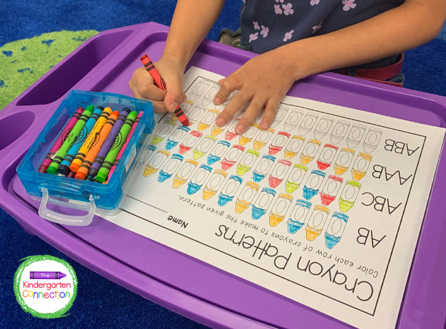 This color patterns activity is engaging and easy-prep! Just print the download and grab some crayons!