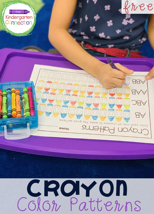 Children will have fun practicing patterns with this free Crayon Color Patterns Activity for Kindergarten! Simply print and include your favorite crayons, colored pencils, or markers!