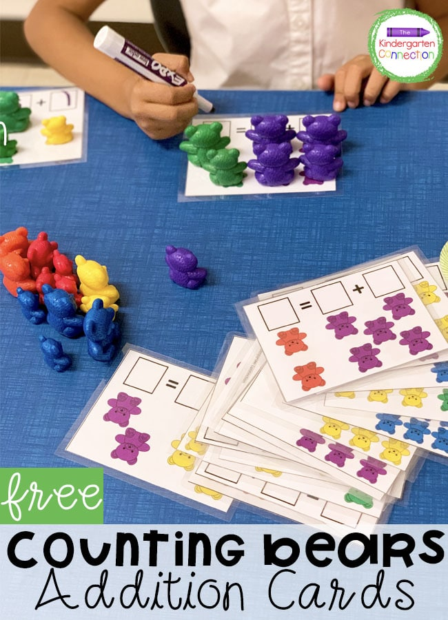 These free counting bear addition cards are a great, hands-on way to practice addition to 10. They are perfect for Pre-K or Kindergarten!