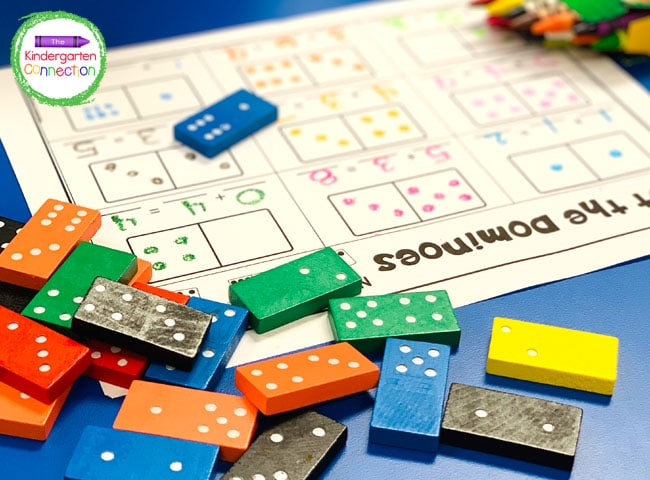 For this domino addition game just grab the printable, dominoes, and crayons, and you're all set!