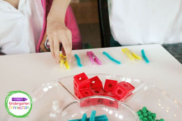 Begin by making patterns for your child to copy or build on.