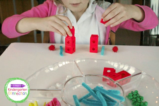 Your child can build their own patterns with their favorite loose parts.