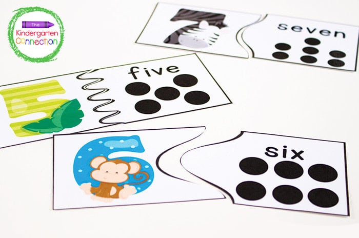 As counting skills improve, increase the amount of puzzles pieces to add more of a challenge.