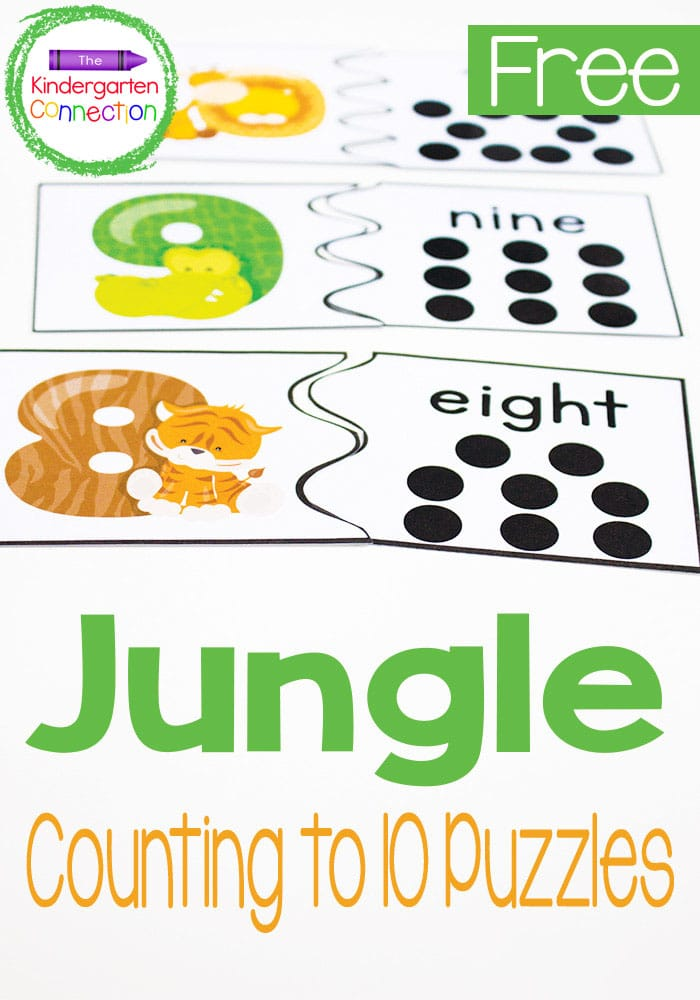 These free jungle animal counting puzzles are perfect for preschoolers and kindergarteners to practice counting and recognizing numbers to 10!