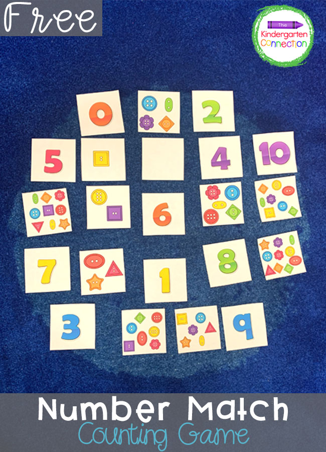 Work on one to one correspondance with this free Number Match Counting Activity! It's perfect for kindergarten small groups or math centers!