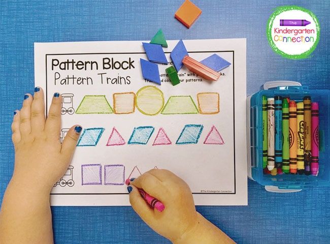 For this activity just grab the free pattern block printable below, some pattern blocks, and crayons!