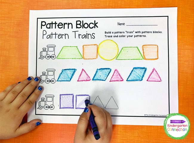 Color in the shapes on the printable. Build up to three trains per page.