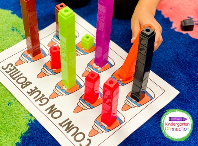 Unifix cubes are great for this activity because they stack easily to make the number towers.