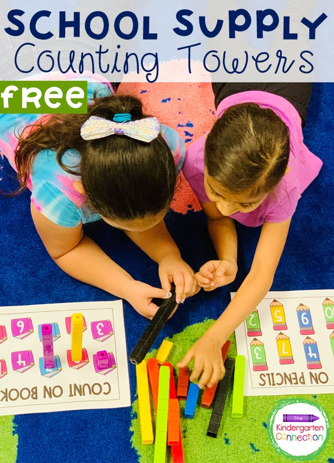 These free School Supply Unifix Cubes Counting Activity Mats are perfect for the back to school season or anytime of the year!