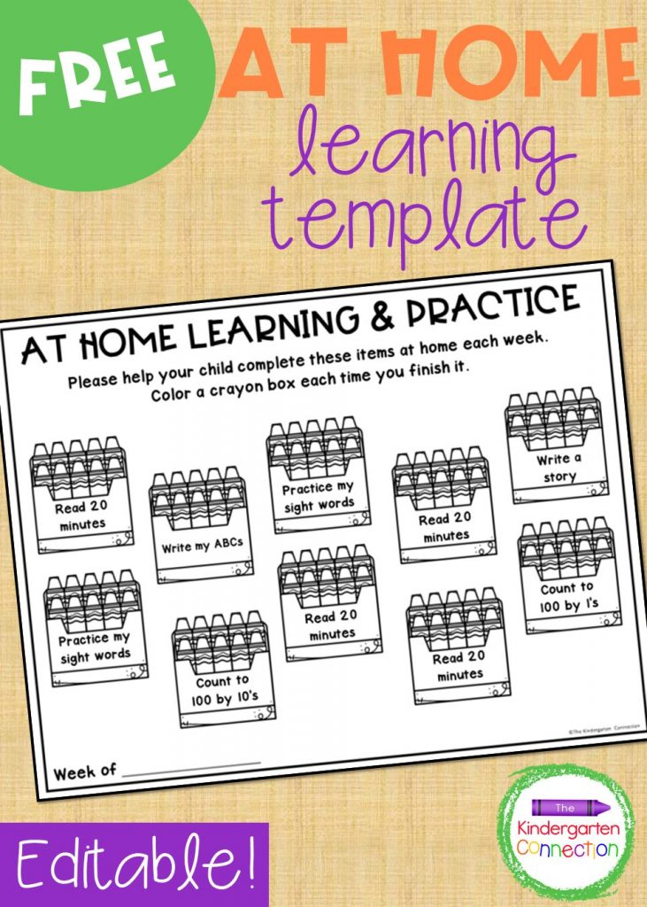 This FREE editable at home learning mat is great for weekly homework (if you choose or are required to send that home), school breaks, or distance learning. You can type in the things that you want your students to work on in the editable template!