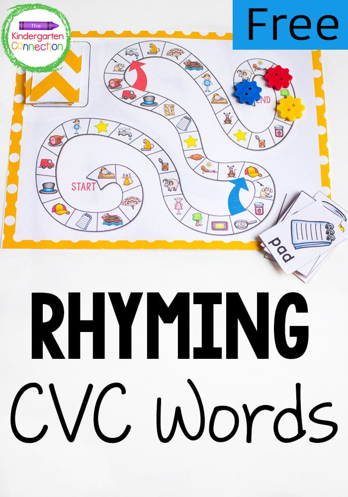 This free CVC Rhyming Words Board Game is hands-on and will get your kindergarteners excited to read!