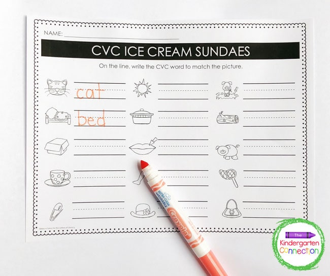 Write the CVC words next to their matching picture on the recording sheet.