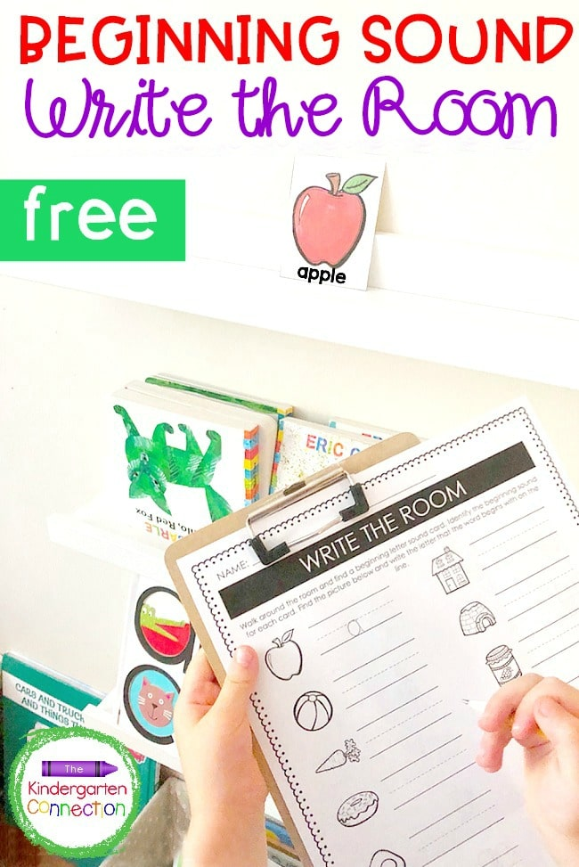 This free Write the Room Beginning Sounds activity makes a perfect Kindergarten writing center for learning letter sounds!