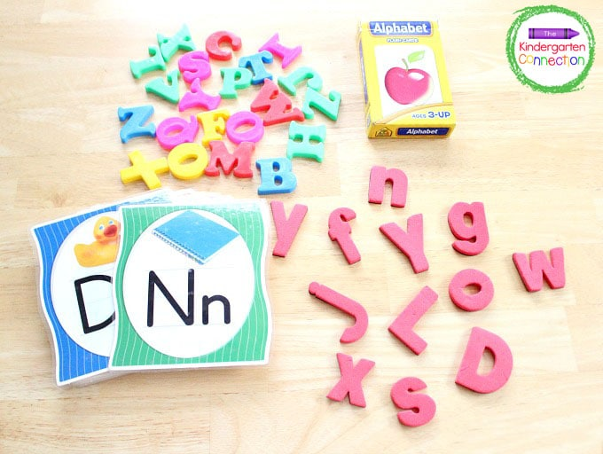 Just grab the free printable, letter manipulatives, flash cards, and a bag or basket!