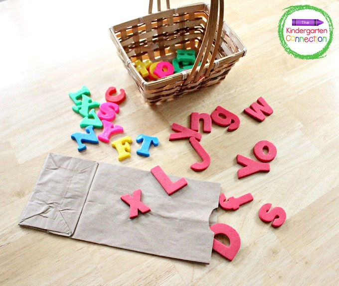 Place all of the letter manipulatives in a small basket or grab bag.