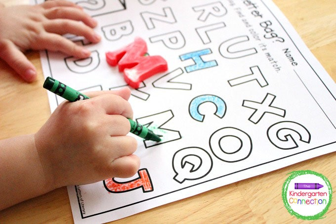 Continue to grab letters and color until all letters have been chosen and the bag is empty.