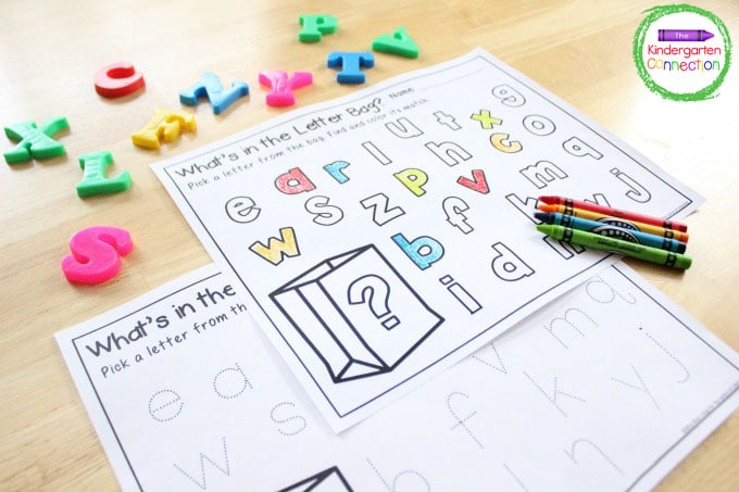 This letter recognition activity comes with both a coloring and a letter tracing printable.