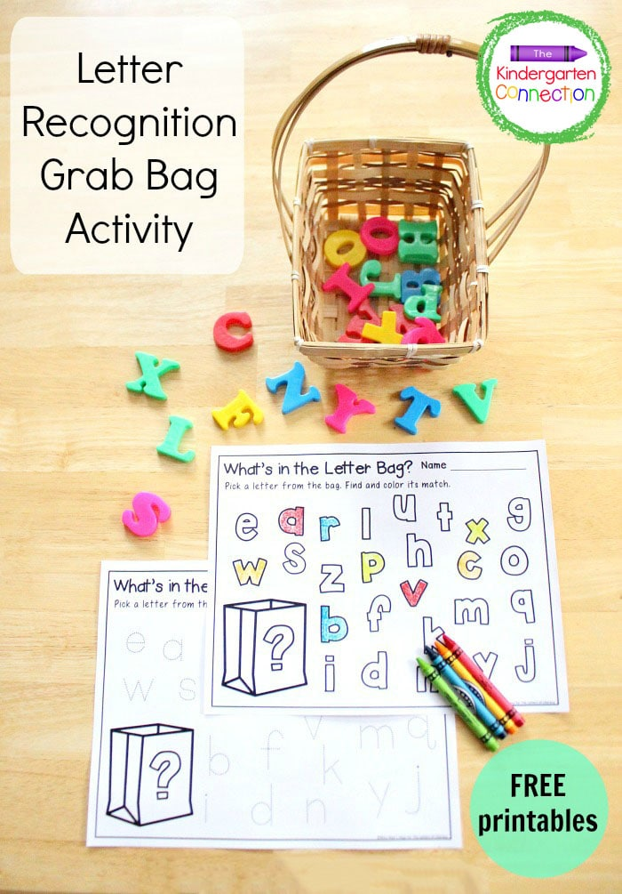 This letter recognition grab bag with free printable is easy to prep and encourages both fine motor skills and alphabet recognition!
