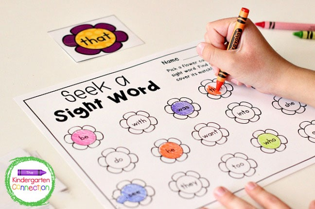 The activity continues until all of the sight word flower cards have been read and colored in on the recording sheet.