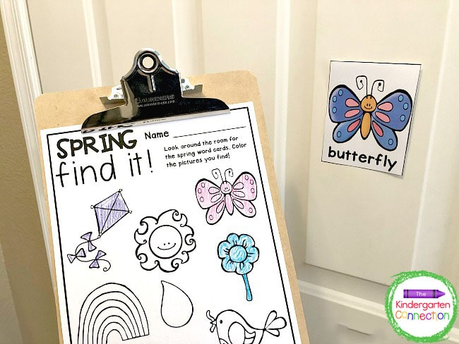 Find the spring vocabulary cards, read the words aloud, and color the matching pictures on the recording sheet.