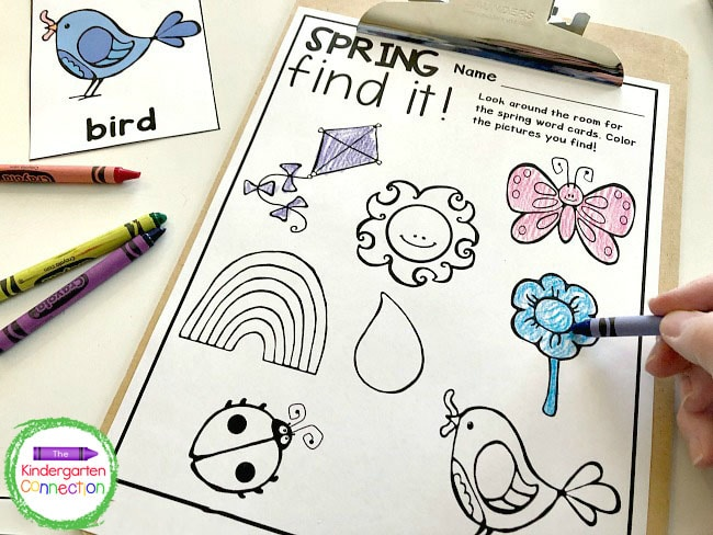 This Spring Writing Center Activity continues until both partners have hidden or found the vocabulary cards and colored them on the recording sheet.