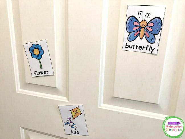 Use velcro or tape to attach the spring vocabulary cards to the walls and other surfaces around the classroom.