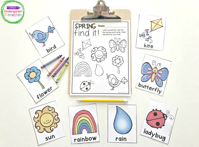 Just print the Spring Writing Center Activity vocab cards, recording sheet, and grab some crayons to get started!