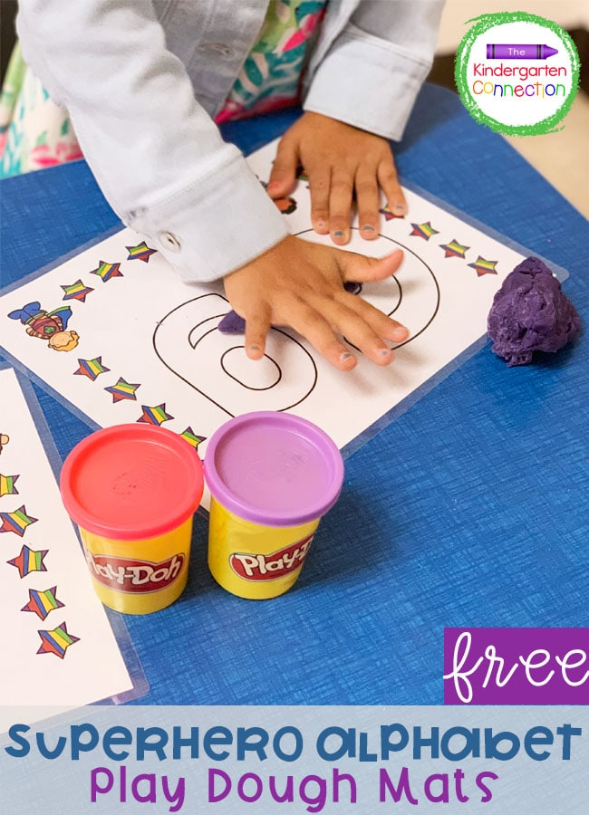 Practice letter formation with these free Superhero Play Dough Mats! These are perfect for Kindergarten literacy centers.