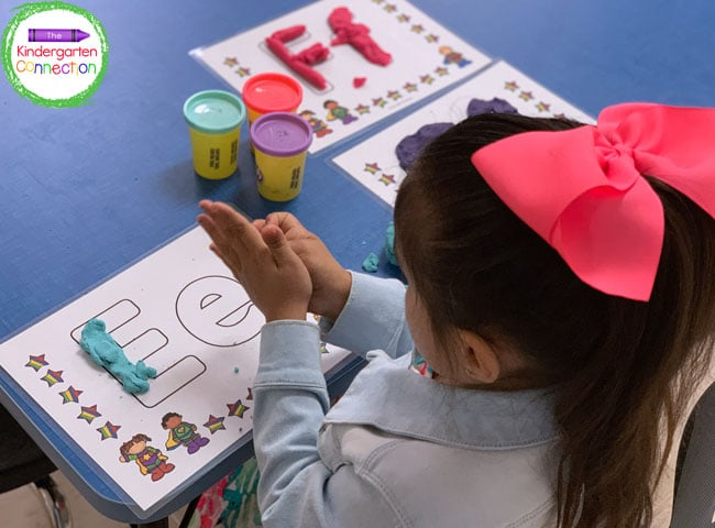 Simply print out and laminate each letter page for reuse and durability with the play dough.