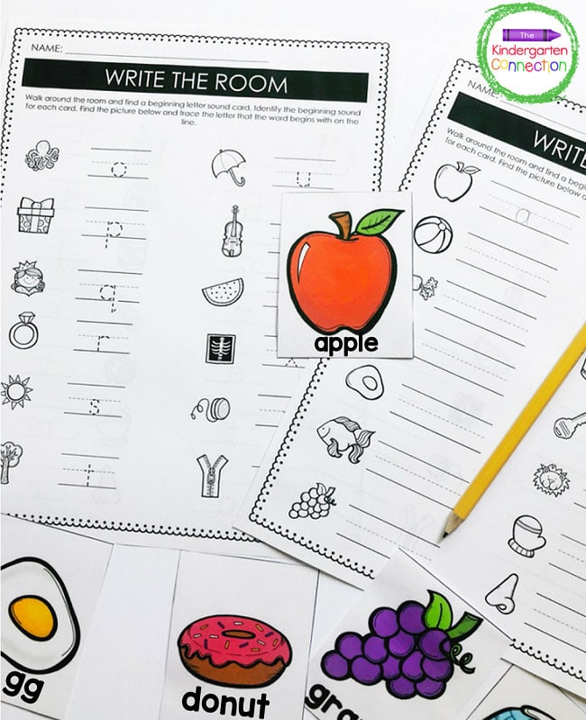 This write the room includes one picture card for each beginnning letter sound in the alphabet.