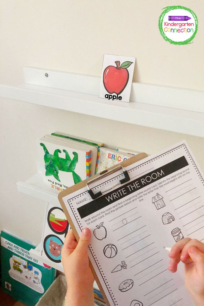 Search the room for the picture cards and trace the letters of the beginning sounds on the recording sheet.