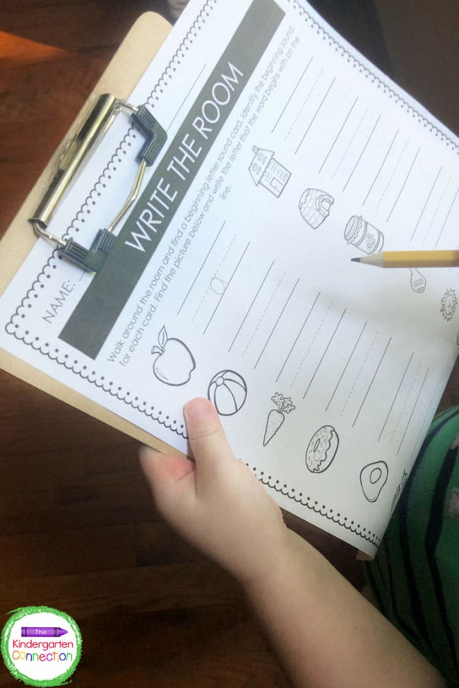 Print off the recording sheet and attach it to a clipboard so the kids have a hard surface to write the room on.