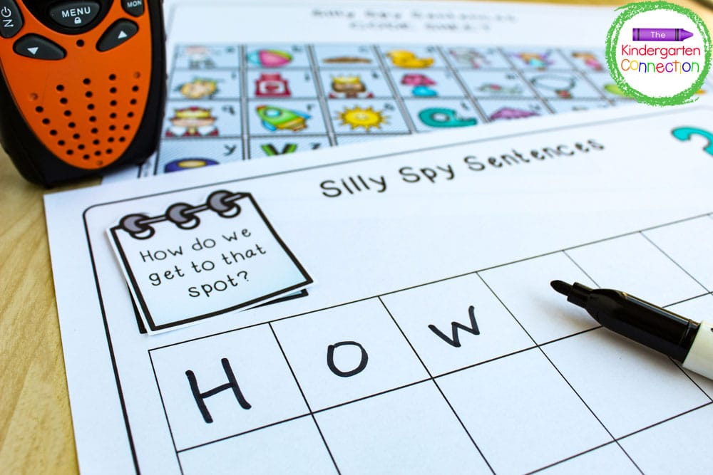 Just print out the Silly Spy Sight Word Activity grid pages and recording sheets and grab the walkie talkies!
