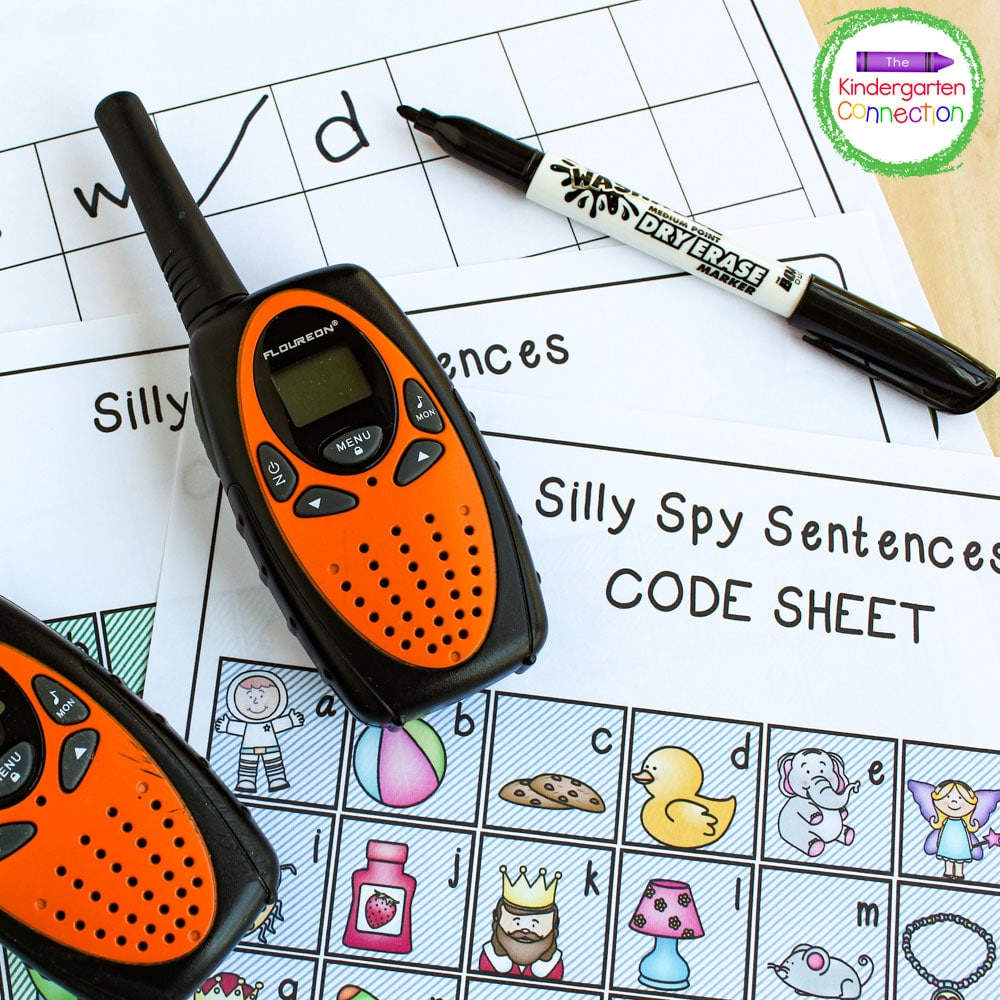 The receiving player listens to the coded message on the walkie talkie and writes down the initial letter of each word in the boxes on the grid page.