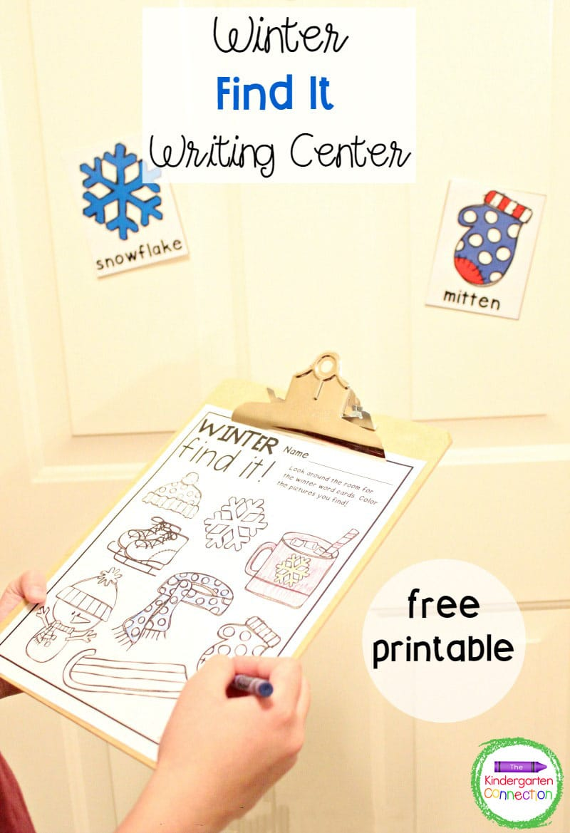 This free Winter Writing Center is a fun, hands-on activity that is perfect for your Kindergarten literacy centers!