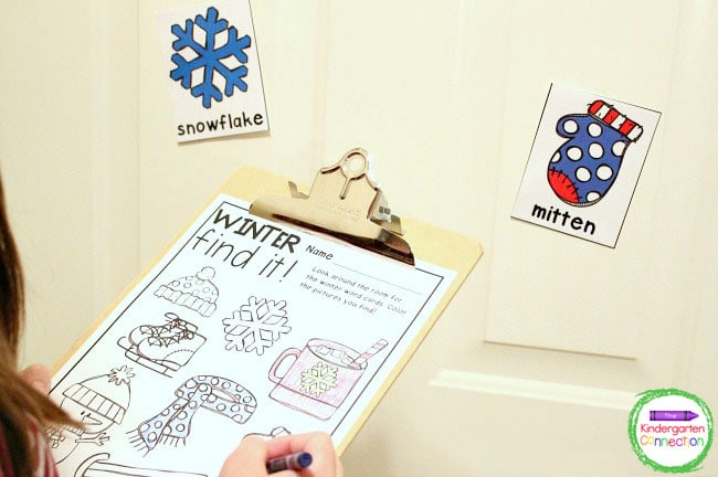 Find the winter vocabulary cards, read the words aloud, and color the matching pictures on the recording sheet.
